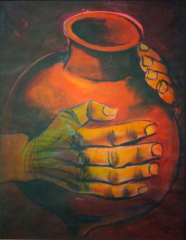 Vasija y manos