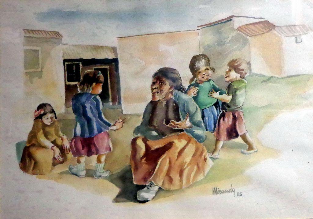Niños y anciana